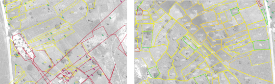 Figure 1.  On left, original spatial data from ICRISAT field campaign; on right, geometrically corrected data from nearby location to the west.  Boundary colours reflect croptype classes.