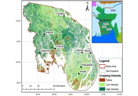 Land use intensity in winter 2013-2014 in the Bangladesh delta
