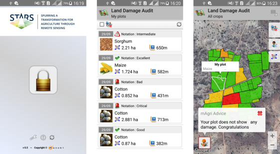 Figure 4. Screenshots from the STARS-One Android app, developed by MANOBI, ICRISAT and other STARS partners to stream remotely sensed diagnostic metrics on crop performance, soil fertility, and yield gaps for individual smallholder fields. Here, DigitalGlobe[10]  time series from the WorldView2 sensor were used.